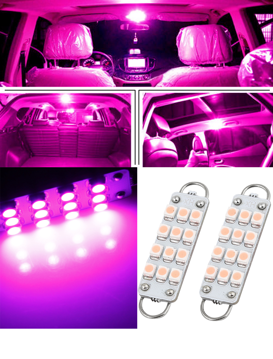 2 x car dome 12 3528 smd led bulb light interior festoon lamp 44mm pink new ebay. Black Bedroom Furniture Sets. Home Design Ideas