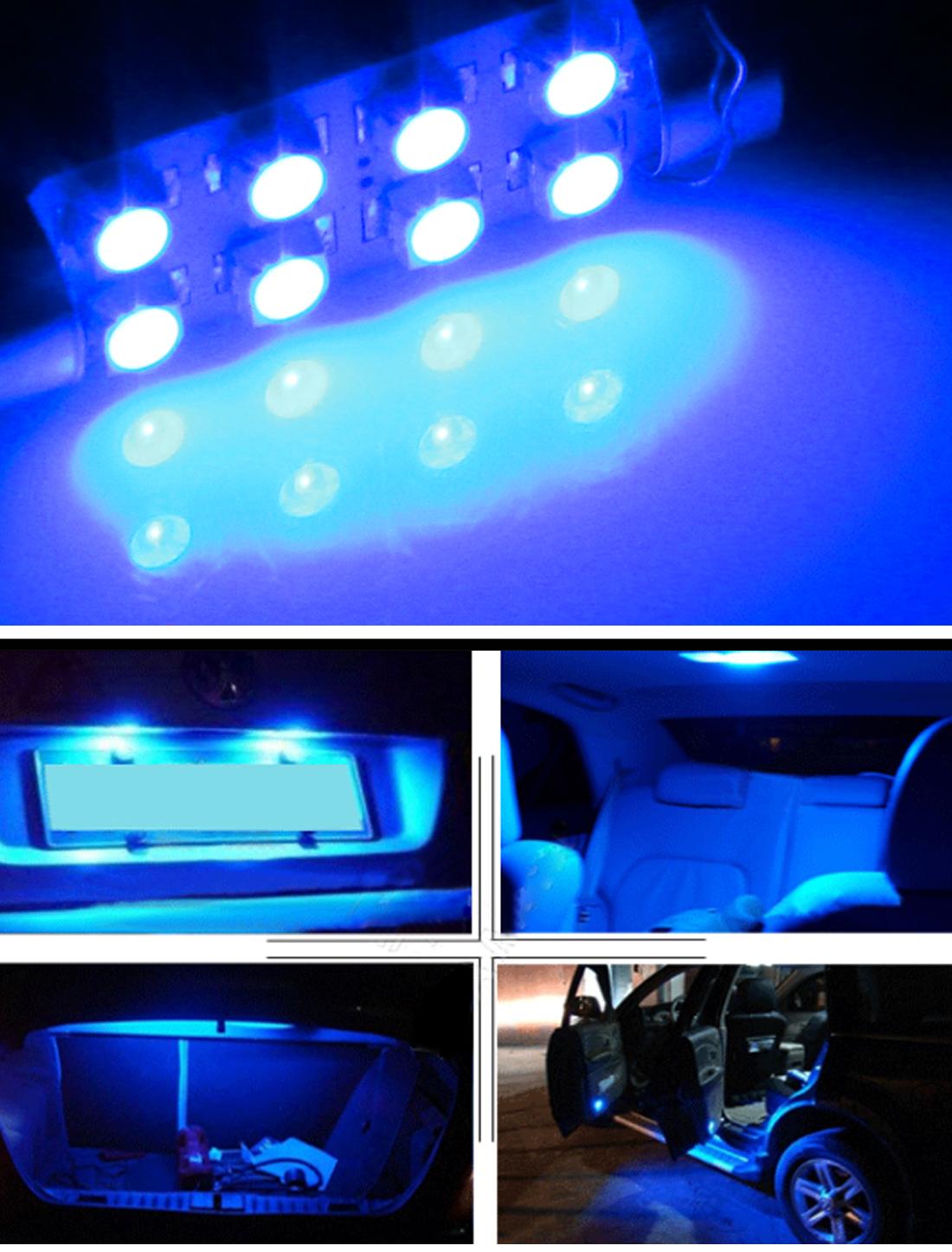 2 x 42mm car interior dome festoon 8 3528 smd led light lamp blue dc 12v ebay. Black Bedroom Furniture Sets. Home Design Ideas