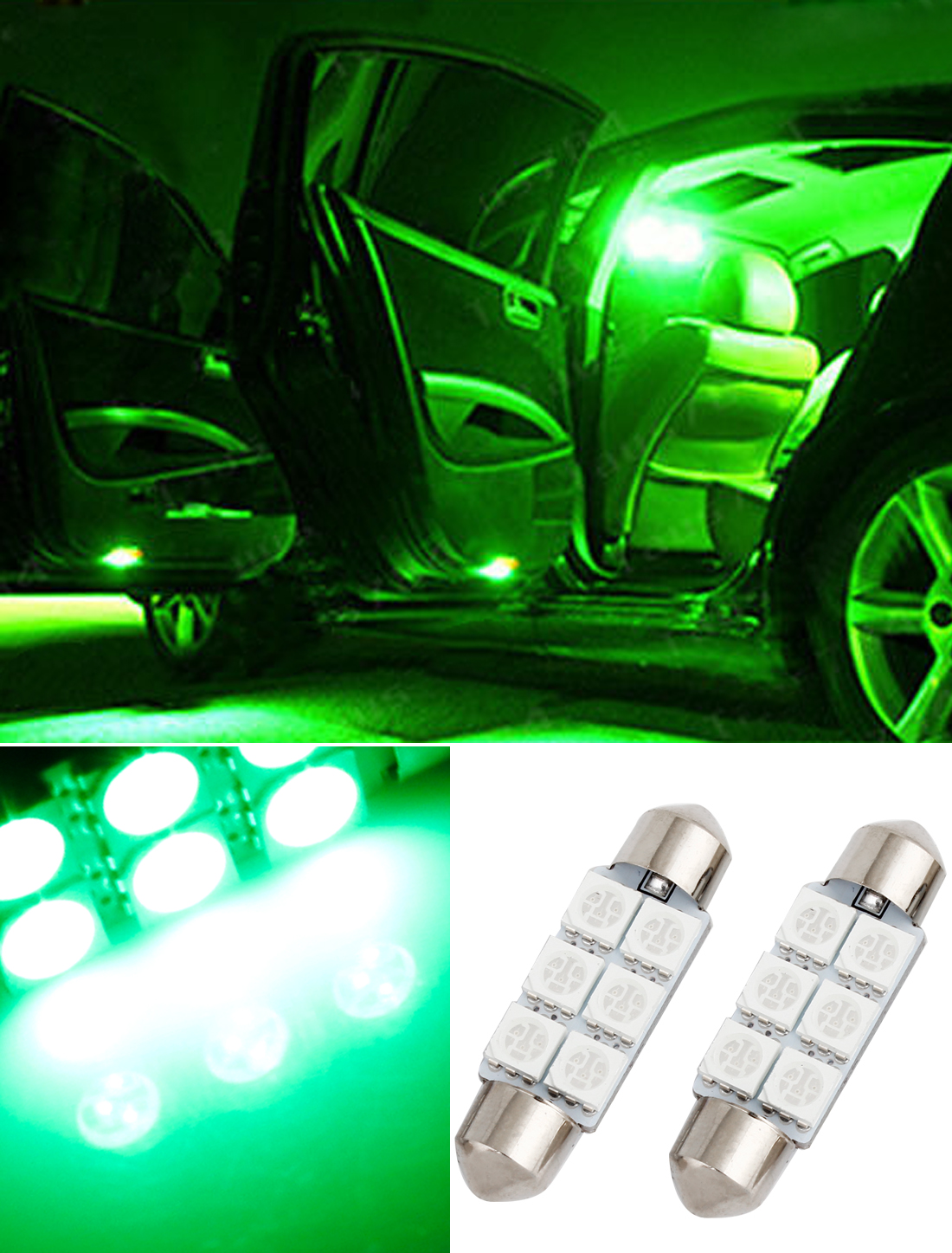 2 X Green 39mm 6 Led 5050 Smd Festoon Dome Car Light Interior Lamp Bulb 12v New Ebay