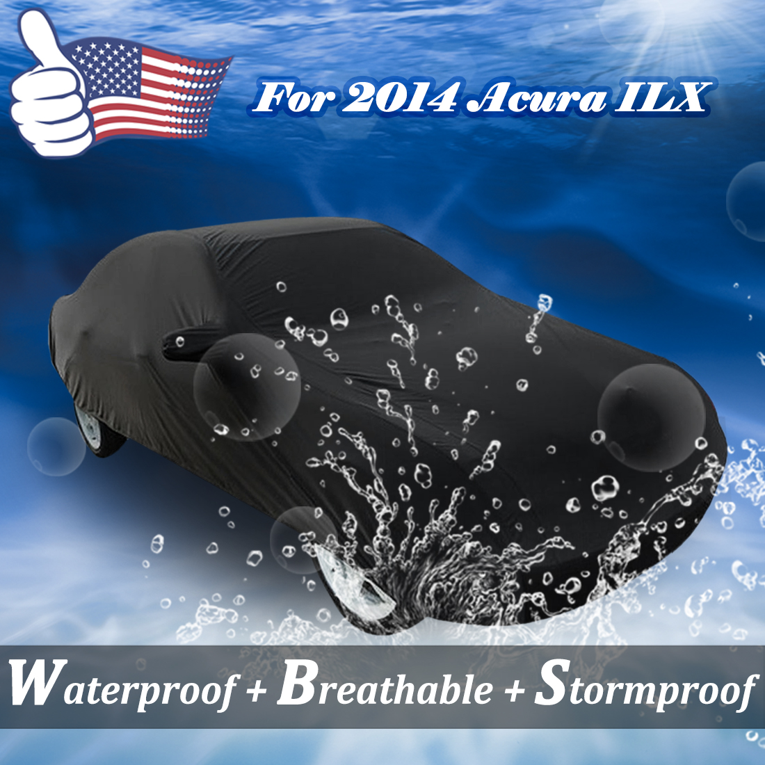Stormproof Waterproof Breathable Black SUV Car Cover For