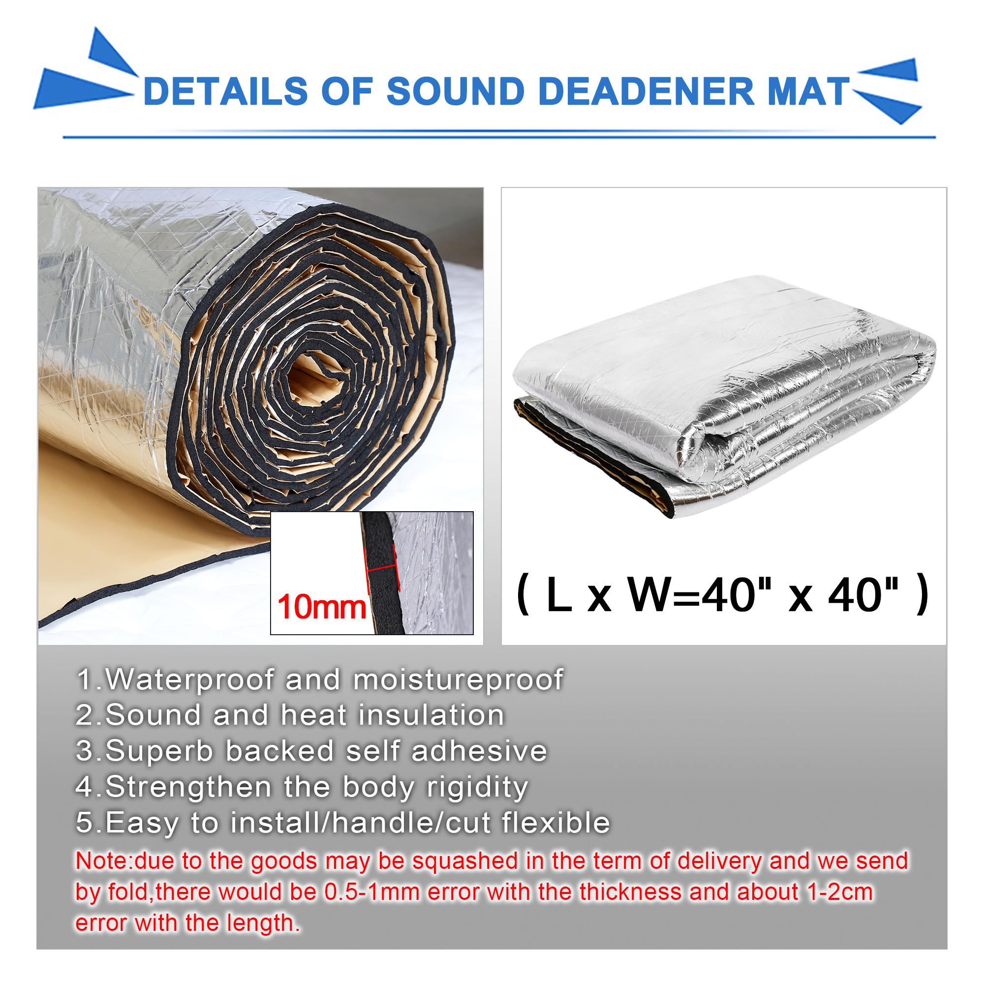 1mx1m 10mm car hood door heat sound deadener reducer insulation underlay mat aud. Black Bedroom Furniture Sets. Home Design Ideas