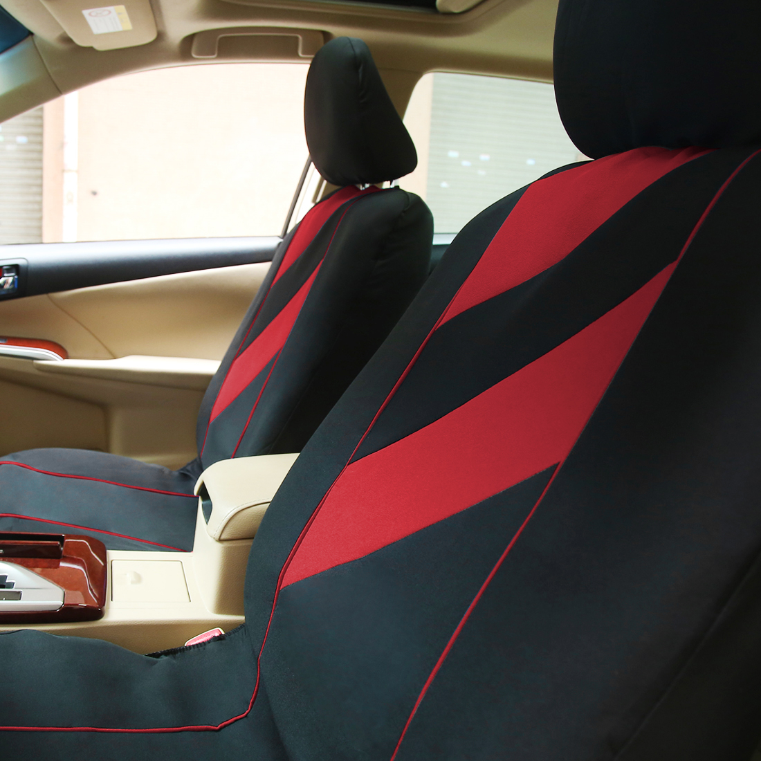 Styling auto interior accessories car seat covers full set red for Auto interieur styling
